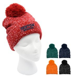 Speckled Pom Beanie With Cuff